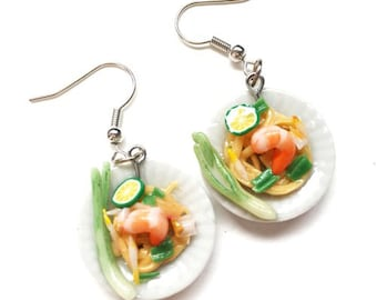 Pad thai earring | Thai foods earring | Food earring | Food Jewelry | Miniature Foods | Thai Foods | Gift | Earring Cute