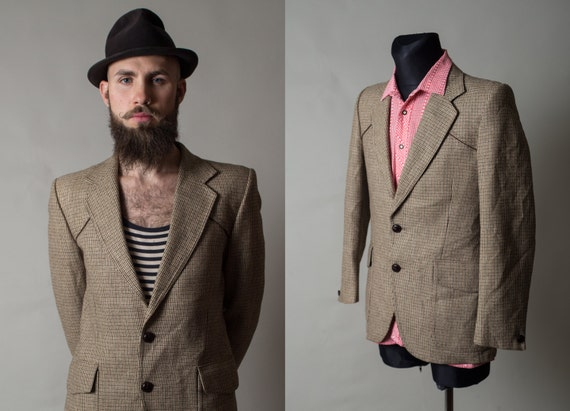 Vintage Wool Retro Checked Jacket / Brown with Beige / Mens Rockabilly Blazer / Hipster jacket / Size Medium hil5uqK