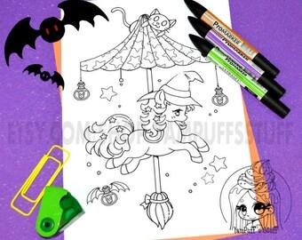 Halloween Carousel - Witch Pony - Clip Art - Digital Stamp