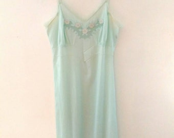 50s Pastel Seafoam Floral Slip (XS) Made in USA