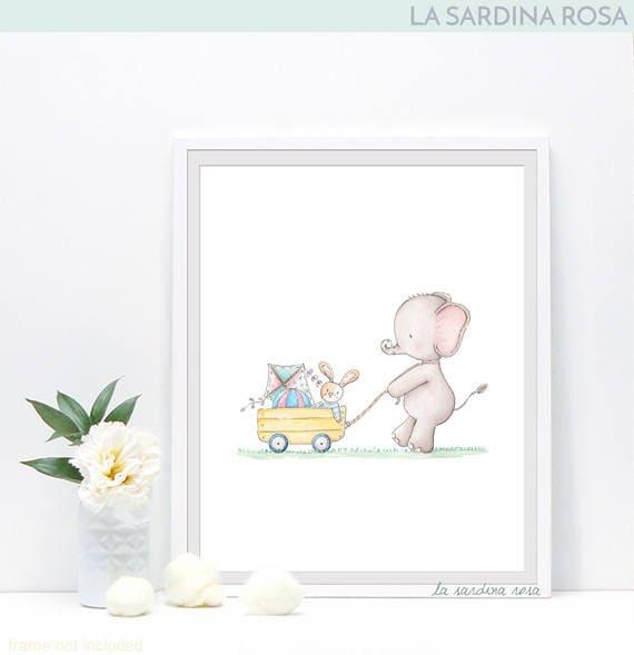 Elefante acquerello stampe cameretta bambini quadretti - Quadri per cameretta ...
