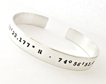 Coordinate Bracelet - Personalized DOUBLE SIDED Sterling Silver Latitude Longitude GPS Location Custom Cuff Bracelet - Wedding, Going Away