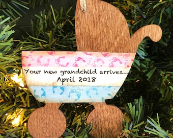 Personalized Pregnancy Reveal Ornaments Grandparents, Baby Reveal Ornament, We Are Having A Baby Ornament, We Are Pregnant Ornament