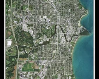 Sheboygan Wisconsin Satellite Poster Map