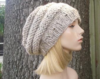 Knit Hat Oatmeal Womens Hat - Original Beehive Beret in Oatmeal Knit Hat - Oatmeal Hat Oatmeal Beret Oatmeal Beanie Womens Accessories