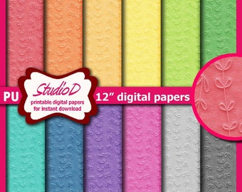 Digital paper leaves, 12x12 paper pack, Rainbow papers, Printable gift wrap, Digital download