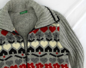 Vintage united colors of benetton sz M cropped cardigan sweater