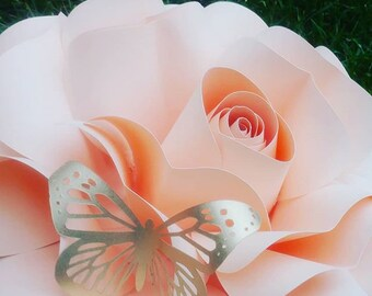 Custom 5 Piece Set Paper Flower Wall Decor, Nursery, Girls Room, Baby Shower, Bridal Shower, Weddings, Parties, Birthdays, Celebrations