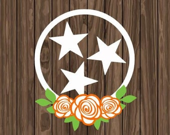 Tennessee Tri Star Flag Rose Vinyl Decal Car Laptop Yeti Tumbler Sticker