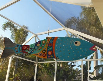 Far Out Fish Works ...Hanging Wind Fish . . . .Lite Blue
