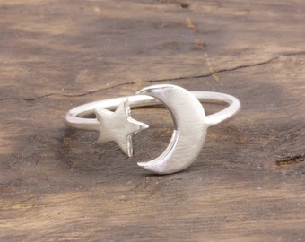 1.3 mm 925 stering silver star and crescent moon ring , half moon ring (R_00034)