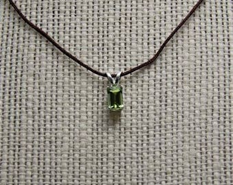 peridot 6mm / 4mm emerald cut sterling pendant