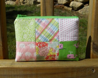 Zipper Pouch, Pink and Green Pouch, Whale Pouch, Elephant Pouch, Quilted Zipper Pouch