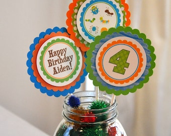 Bug Centerpieces. Insect. Centerpiece. Personalized. Set of 3.Choose boy or girl