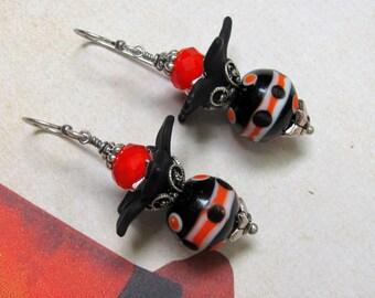 Black Flower Earrings, Halloween Earrings, Orange Earrings, Black Earrings, Holiday Earrings, Lucite Earrings, Flower Earrings