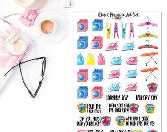 Laundry Planner Stickers | Laundry Day Stickers | Fold Laundry Stickers | Household Chores Stickers | Ironing Stickers (S-198)