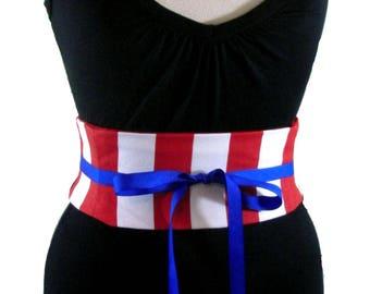 Circus Corset / Red White Stripe Waist Cincher / Jumbo Striped Obi Belt / Pirate Sash / Wedding Sash / Bridesmaid Sash / Lace Up Corset Belt