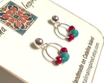 Sterling Silver Post Earrings With Silver Ring, Red & Turquoise Glass Beads
