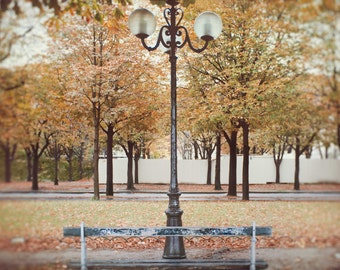 Paris in the fall park bench and lamppost, Paris Photography, Home Decor, Wall Art, Green, Red, Yellow, Brown:  An Autumn Day in Paris