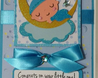 Handcrafted Baby shower  (baby boy ) card