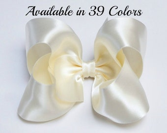 Ivory Hair Bow, Satin Hair Bow, 4 Inch Hair Bows, Christmas Hair Bow, Large Hair Bows, Girls Hair Bows, Hair Bows for Toddlers, Bows, 904