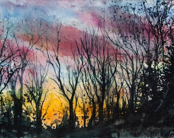 Tanglewood I, Watercolor Print, Colorful Sky, Trees, Sunset, Silhouette