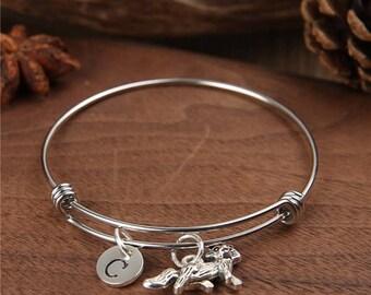 Dog Bangle, Bulldog bangle, bulldog bracelet, expandable bangle, bangle, bracelet, Birthstone bracelet,monogram bracelet, initial charm