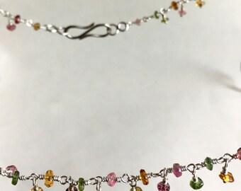 necklace, 925 silver, tourmaline