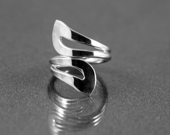 Sterling Silver Wrap-around Ring for Women, Sterling Silver Bypass Ring, Adjustable Sterling Silver Ring, Sterling Silver Wrap Ring