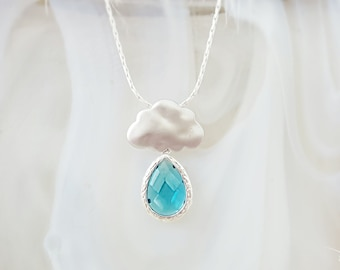 Rain Cloud Necklace Raindrop - Aquamarine Necklace Blue Crystal Drop - Cloud Jewelry Matte Silver - Blue Teardrop Necklace Rainy Day N1250