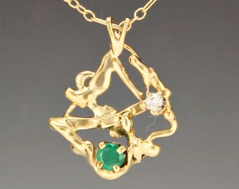 Gold Abstract Emerald and Diamond Necklace/ Emerald and Diamond Pendant/ May Birthstone/ Gold Emerald Necklace/ Gift for Her/ Birthday Gift