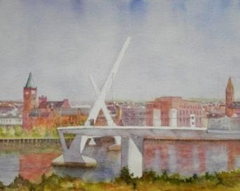 Across The Foyle. Irish Art, Irish Watercolour, Peace Bridge Derry/Londonderry.