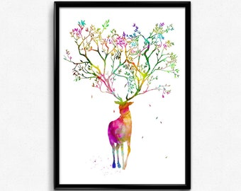 Stag with Tree Horns, Animal, Nature, Room Decor, Colorful Watercolor, gift (511)