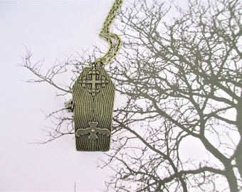 Coffin Necklace, Coffin Pendant, Hidden Skeleton Necklace, Day Of The Dead Necklace