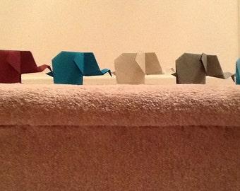 Six Miniature Lucky Origami Paper Elephants