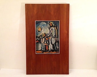 """26x16"""" MCM Religious Print Guardian Angel by Georges Renoult Vintage Wood Board Retro"""