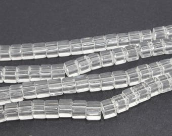 70 4 clear glass cube beads / 5mm LBP00103