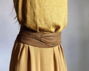 wide tie women brown leather belt wrap around Pocket secret