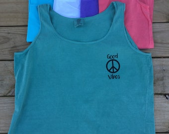 Comfort Colors Ladies Good Vibes Peace Sign Tank Top // You Choose Colors // Custom // Personalized //