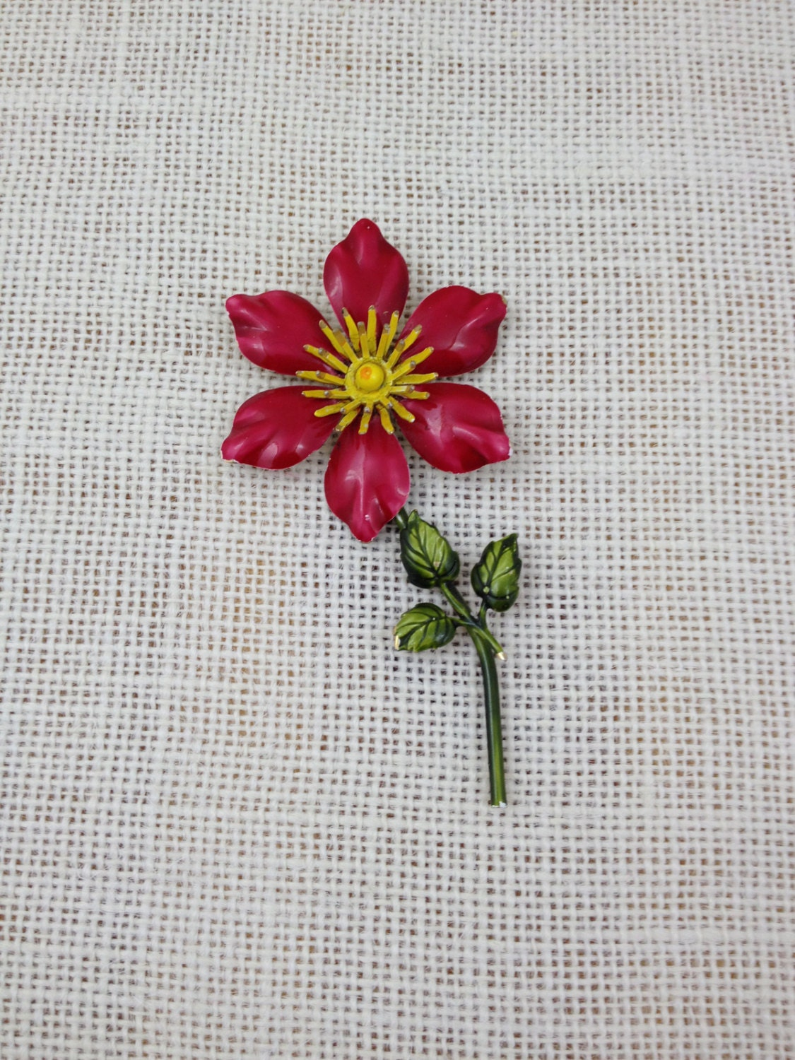 Vintage rosey red flower brooch with yellow center and green description vintage rosey red flower brooch with yellow center mightylinksfo
