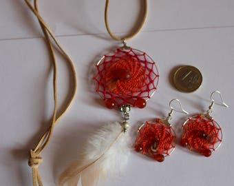Dreamcatcher Pendant and earrings with fire carnelian