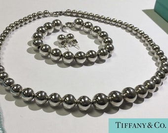 Tiffany Sterling Silver 10mm Ball Necklace, Bracelet and Earring Suite