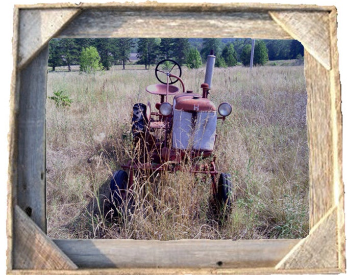 International Harvester Farmall Cub photo taken by me framed in Rustic, Weathered Wood Picture Frame 8x10