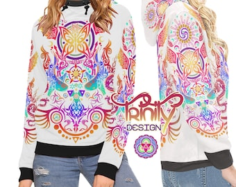 High Neck Hoodie Psychedelic Clothing Music Festival Clothing Psytrance Futuristic Clothing Rave Outfit Psy Trance Trippy Hippie Clothing
