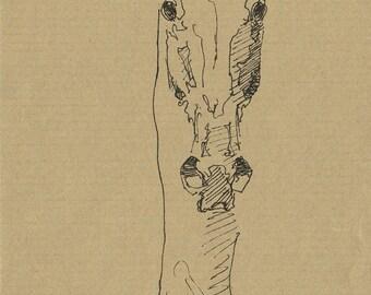 Horse Head Original Ink Sketch, Animal Art, Contemporary Original Fine Art, Quick Study, Equine Art
