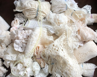 Five yards of Assorted Ecru / Beige Lace and Beige Trim, Ecru lace and Ecru Trim, Lace  Assortment,