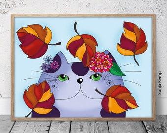 Cat enjoys autumn | Fine art print | Wall art | Sonja Kemp