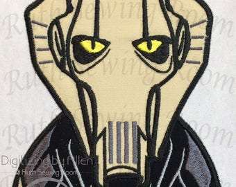Star Wars General Grievous Head, Applique Embroidery Design This is Not a PATCH