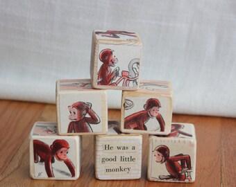 6 RARE, Vintage Curious George Wooden Blocks