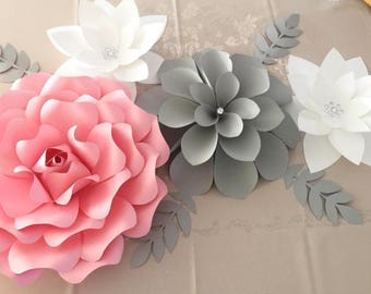 Pink and grey paper flower set
